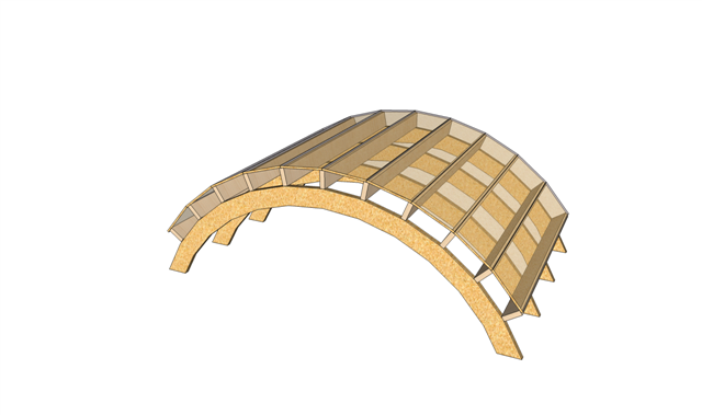 Lucas free bow roof shed plans for Barrel roof trusses